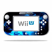 Mightyskins Protective Vinyl Skin Decal Cover for Nintendo Wii U GamePad Controller wrap sticker skins Blue Flames