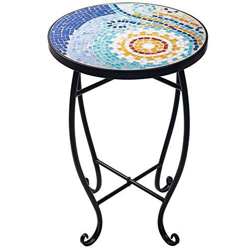 D4P Display4top Mesa Redonda Decorativa para Exteriores, Soporte para Flores, Mesa Lateral Redonda, Mesa de balcon con Mosaico de Piedra,52 x 34.8 cm (Color del Sol)