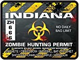 REFLECTIVE Indiana Zombie Hunting Permit Decal Danger Zone Style