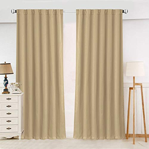 (SHIELD CREATOR Blackout Curtains, Back Tab and Rod Pocket Solid Blackout Curtains, Thermal Insulated Window Drapes for Living Room, 2 Panels(W52 X L84, Beige))