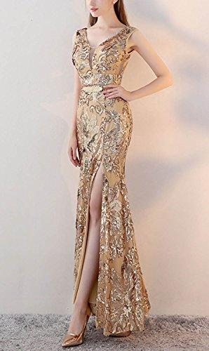 Abendkleid Meerjungfrau Frauen Split Ausschnitt Gürtel V mit Fanhao Gold Pailletten Long Golden pvWOWFwq