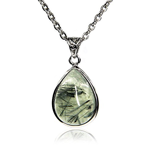 Natural Gemstone Prehnite Charm Pendant Necklaces 18