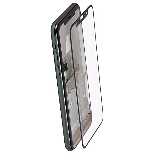 オウルテック iPhone X/XS 全面保護 強化ガラス ブルーライトカット フチが欠けない新素材フレーム 0.26mm クリア × ブラック OWL-TGPIP8F-BBC
