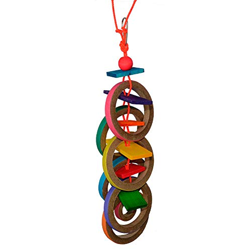 Super Bird Creations SB625 Chewable Olympic Rings Bird Toy with Colorful Paper Bagels and Wooden Blocks, Large Size, 15