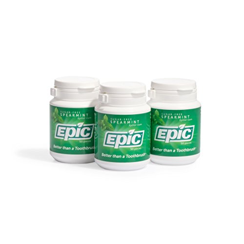 Epic Dental 100% Xylitol Sweetened Gum (Spearmint, 50-Count Bottles (Pack of 3))