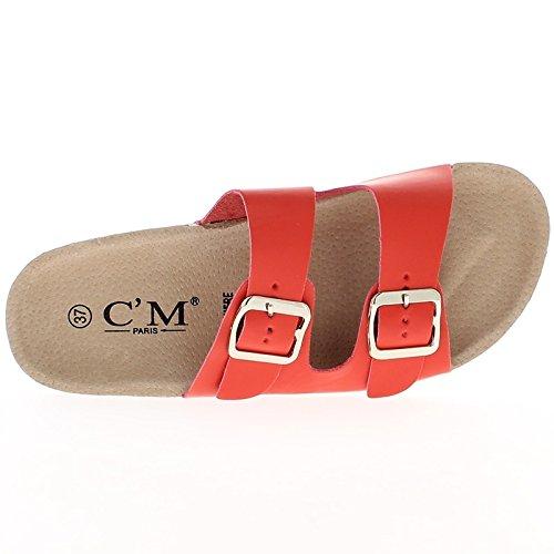 Rote Pantoletten mit dicken Sohlen 2cm Doppel Flansch