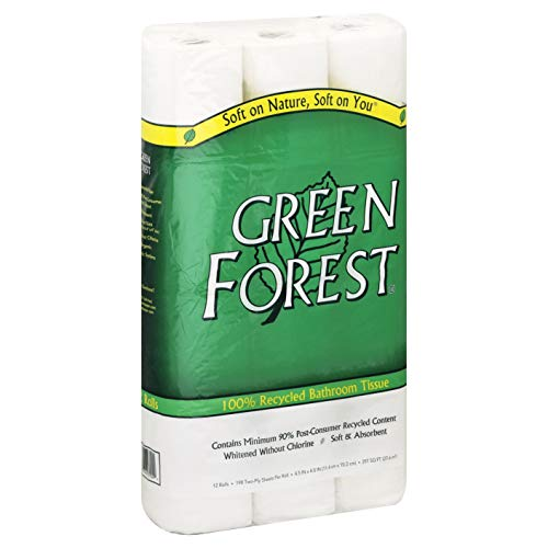 Green Forest 100% Recycled Bathroom Tissue, 198 Sheets, 12 Rolls (Pack of 8)
