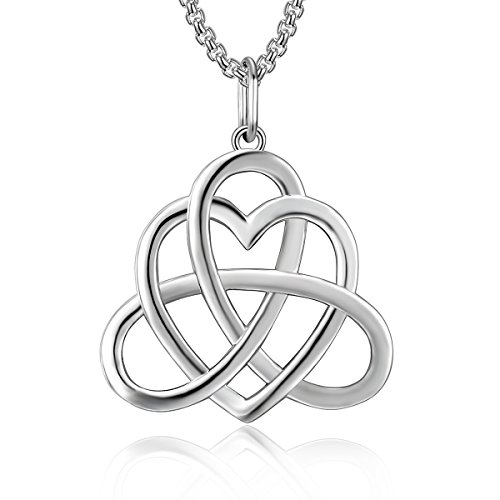 BLOVIN Sterling Silver Vintage Irish Triangle Celtic Knot Love Heart Pendant Necklace with Chain 18