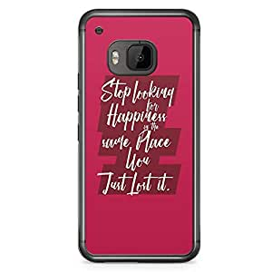 HTC One M9 Transparent Edge Phone Case Happiness Phone Case Inspiration Phone Case Quote M9 Cover with Transparent Frame