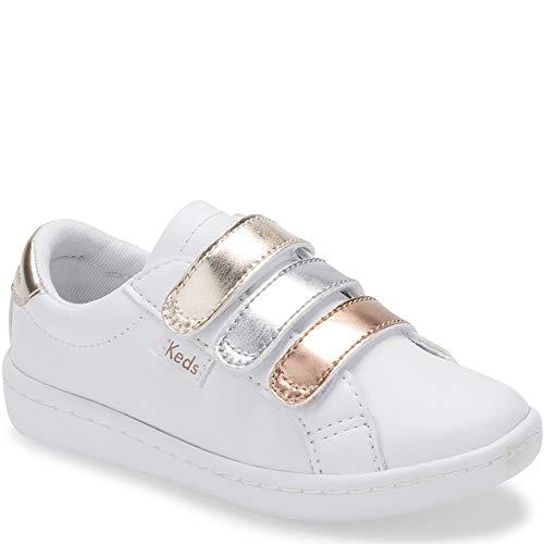 Keds baby-girls' Ace 3V Sneaker, Triple Metallc,7 M US Toddler