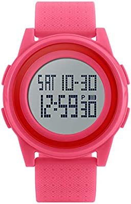 LINDANIG Reloj Deportivo Digital Militar de Unsex Reloj retroiluminado de LED retroiluminado a Prueba de Agua Reloj ultradelgado Simple (Color : Pink)