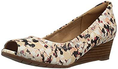 CLARKS Women's Vendra Daisy Dress Pump, Printed Leather, 5.5 M US