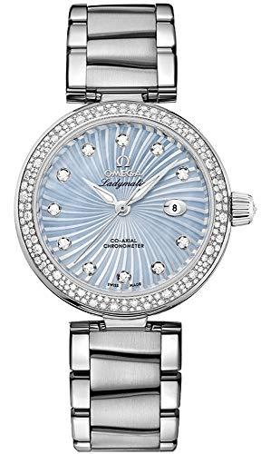 Women's Omega DeVille Ladymatic Blue Mother of Pearl Diamond Luxury Watch 425.35.34.20.57.002