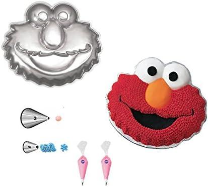 Wilton Elmo Face Cake Pan Bundle of 5 Items Elmo Face Cake Pan, Decorating Tips and Decorating Bags