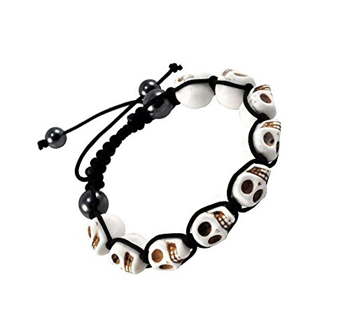 Skull Prayer Beads (Tibetan White Prayer Beads Skull Bracelet Wrist Mala Shamballa Bracelet)