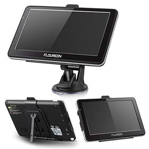 FLOUREON 7 Inch Capacitive LCD Touch Screen Truck&Car GPS Navigation SAT NAV Navigator Lifetime Map Updates 8GB(Black)