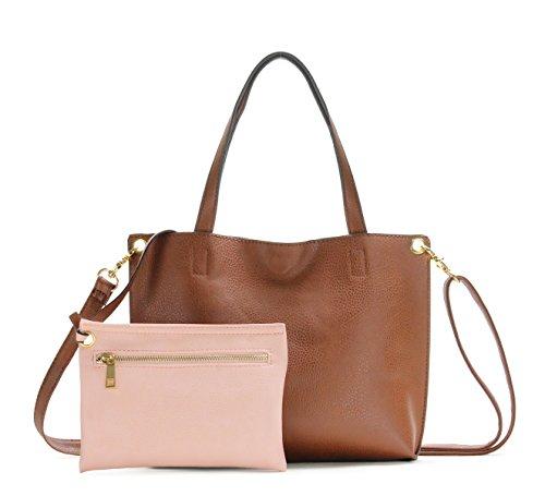 (Scarleton Small Stylish Reversible Tote Handbag for Women, Vegan Leather Shoulder Bag, Hobo bag, Satchel Purse, Brown/Pink, H184220190405)