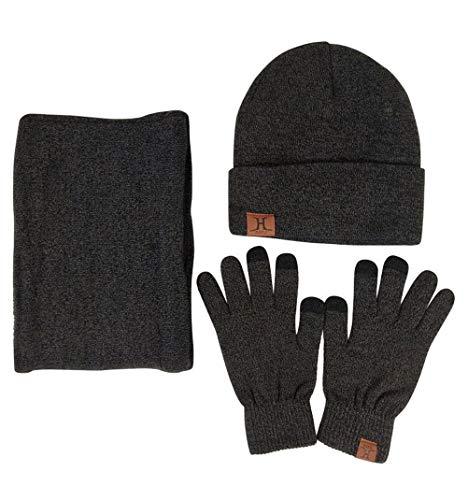 JOYEBUY Men 3 PCS Knitted Set Winter Warm Knit Hat + Scarf + Touch Screen Gloves (Dark Grey)