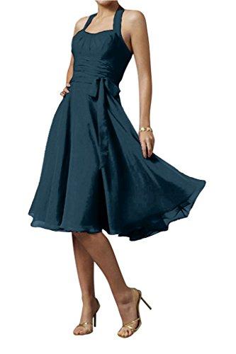cocktail vestito partito da abito Chiffon sposa ginocchio sera Splendida cavezza da vestito moderna al Inkblau arco da del afAwPqS