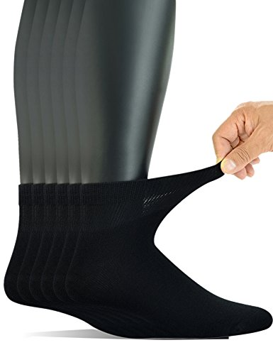 Yomandamor Men's 6 Pairs Combed Cotton Diabetic Ankle Socks with Seamless Toe and Non-Binding Top (Cotton Foot Socks)