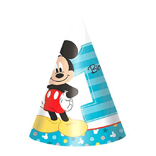 Amscan 1st Birthday Mickey Mouse Party Cone Hats Party Supplies Mickey Fun to be One! (16 Hats) by Amscan