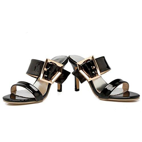 Black Slip Open Women High Back Slippers TAOFFEN Fashion On Heel Sandals ORwx4nvqE
