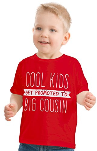 Cool Kids Get Promoted to Big Cousin | New Baby Funny Family Humor Youth T-Shirt-(Toddler, 3T) Red