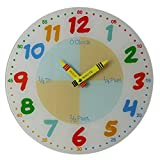 Teach Learn How to Tell Time Teacher Children Read Wall Analog Clock Colourful Glass 30cm