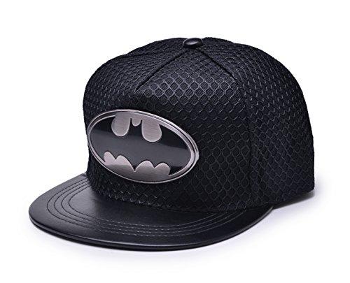 REINDEAR Bat Man Logo Baseball Cap w/Black Mesh Hip-hop Snapback Hat (Black)