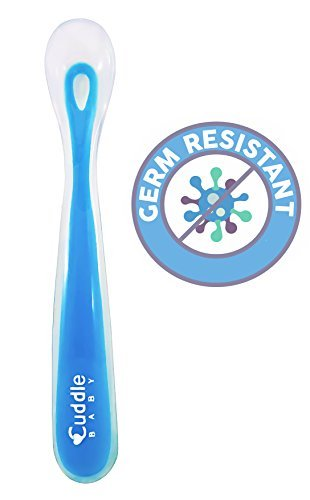 Cuddle Baby Gum-Friendly First Stage Soft Tip Silicone Feeding Spoons for Babies - Blue - BPA, lead, phthalate and plastic free