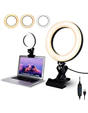 """Video Conference Lighting,6.3"""" Selfie Ring Light with Clamp Mount for Video Conferencing,Webcam Light with 3 Light Modes&10 Level Dimmable for Laptop/PC Monitor/Desk/Bed/Office/Makeup/YouTube/TIK Tok"""