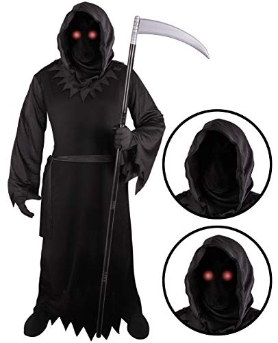 Grim Reaper Costume for Kids with Light Up Red Eyes (Small (4-6)