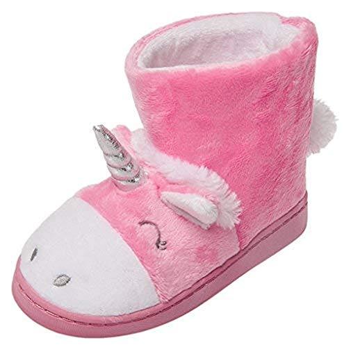 Little Girls Unicorn Warm Fur Lining Boots Indoor Slippers Winter Slip-On Cute Toddler Kids Pink