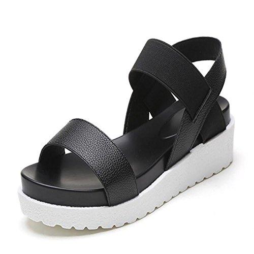 Summer Sandali Colorblock donna Elastic Casual Silver Sandali Flat Black Flat Sandali Shoes New Band GAOLIXIA da Leopard Schoolgirl Black rEExn4wA