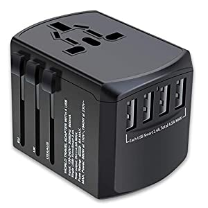 ZGGCD Travel Adapter, International Power Adapter, Universal Plug Adaptor with 4 USB Ports, High Speed 4.5A Worldwide Wall Charger, All in One AC Socket for USA UK AUS Europe Asia Cell Phone Laptop Power Accessories