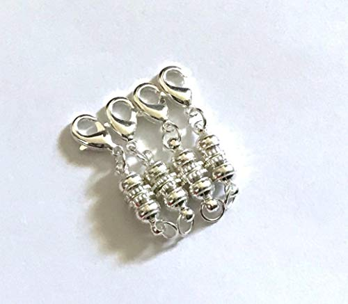 4 pcs Magnetic Silver Plated Brass Clasps Jewelry Fastener Lobster Claw Clasp 2n ()