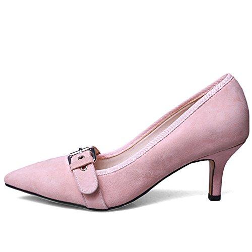 Nine Seven Cuero Moda Puntiagudos Zapatos de Tacón de Aguja con Hebilla para Mujer Rosa