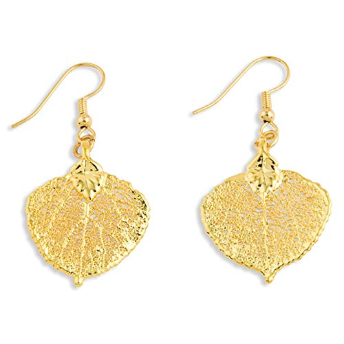 24k Gold Dipped Aspen Leaf Dangle Earrings in Gift Box