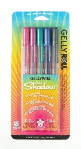 Sakura 58760 5-Piece Gelly Roll Assorted Colors Gold Shadow Pen (Gold Border Invitation)