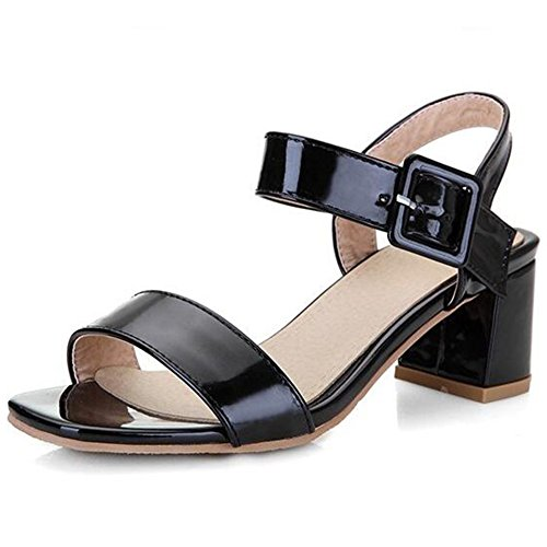 Ankle Strap Patent Leather Sandals - 6