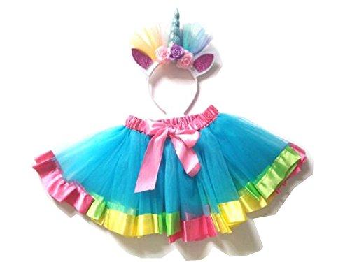 EBTOYS Unicorn Tutu Skirt Suits Unicorn Tutu Dress Set for Girls Birthday Party Costumes - L(Lake Blue) by EBTOYS (Image #1)