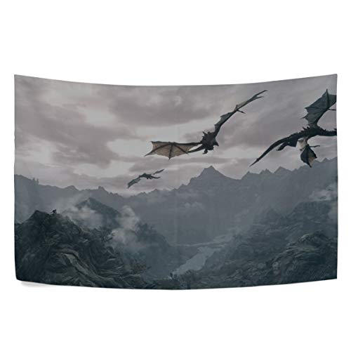 MAXM The Elder Scrolls Dragons Fly Mountains Sky Wall Hanging Tapestry Bedroom Living Room Beach Doorway Curtain Christmas Thanksgiving Day Decoration 60 X 40 Inch