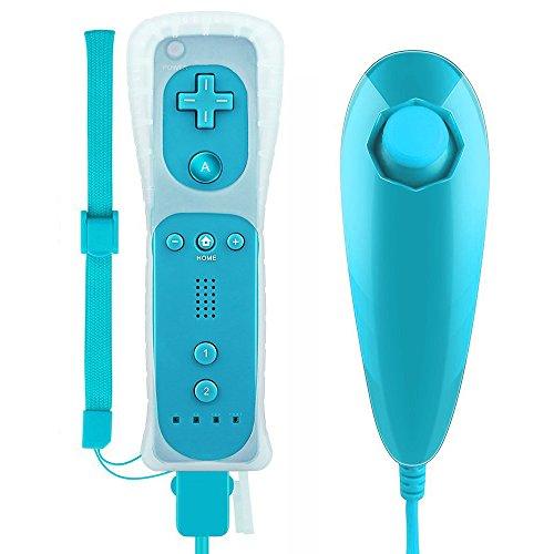 Wii Controller Gamechoices A02 Wii Remote and Nunchuck Controller with Silicone Case Wrist Strap Built-in Vibration Motor For Wii/Wii U-Blue