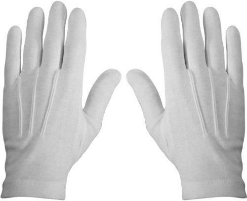 Clown Girl Gloves (WHITE STITCHED COTTON GLOVES- PAIR, MEDIUM)
