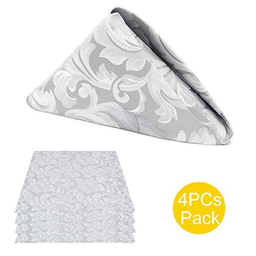 ColorBird Scroll Damask Jacquard Cloth Napkin Waterproof Spillproof Microfiber Fabric Napkins, Set of 4, 17 x 17 Inch, Silver - Damask Gray Fabric