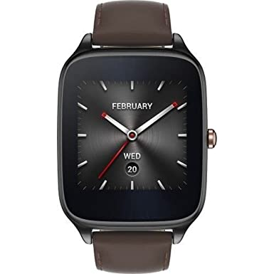 "ASUS ZenWatch 2 Smartwatch 1.63"" Stainless Steel - Gunmetal/Brown Leather Band (Certified Refurbished)"