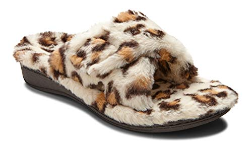 (Vionic Women's Indulge Relax Plush Slipper - Adjustable Slipper with Concealed Orthotic Support Cream Leopard 9 M US)