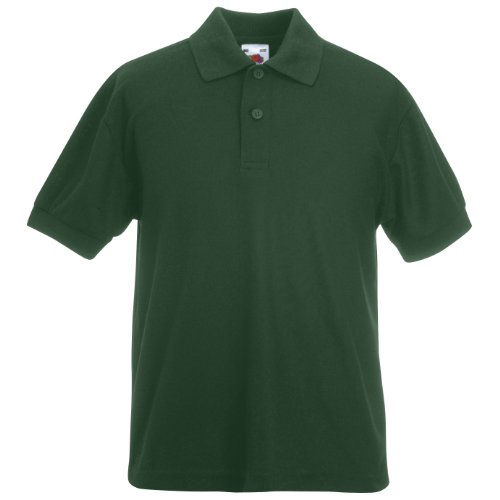 Fruit Of The Loom - Kinder Unisex Pique Kurzarm Polo Shirt - Flaschen Grün, 5-6 Jahre
