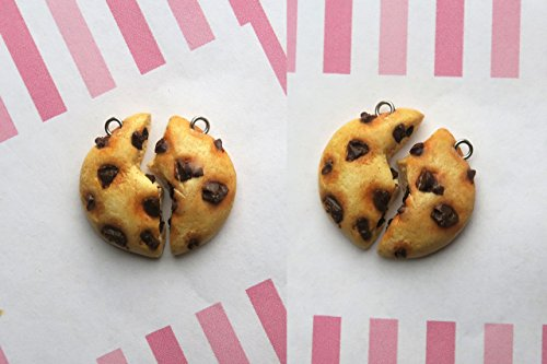 Chocolate Chip Cookie Friendship Necklaces Or Keychains- friendship necklace, birthday gift, cookie necklace, friend necklaces, bff necklace