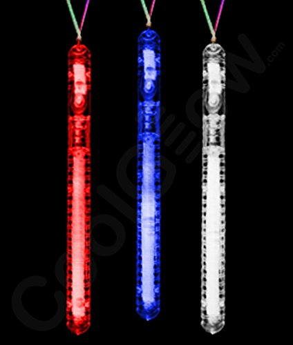 Fun Central O576 LED Light Up Illuminated Stick Necklace - Red-White-Blue